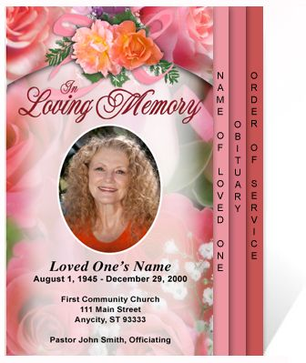 Beautiful Funeral Programs: DIY Rosy 4-Page Graduated Step Fold ...