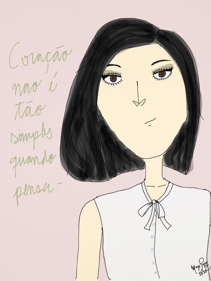 """""""Coração não é tão simples quando pensa.-"""" Manu 13/10 '15 // #bow #design #bamboopaper #fashion  #moda #desenho #illustraçao #illustration"""