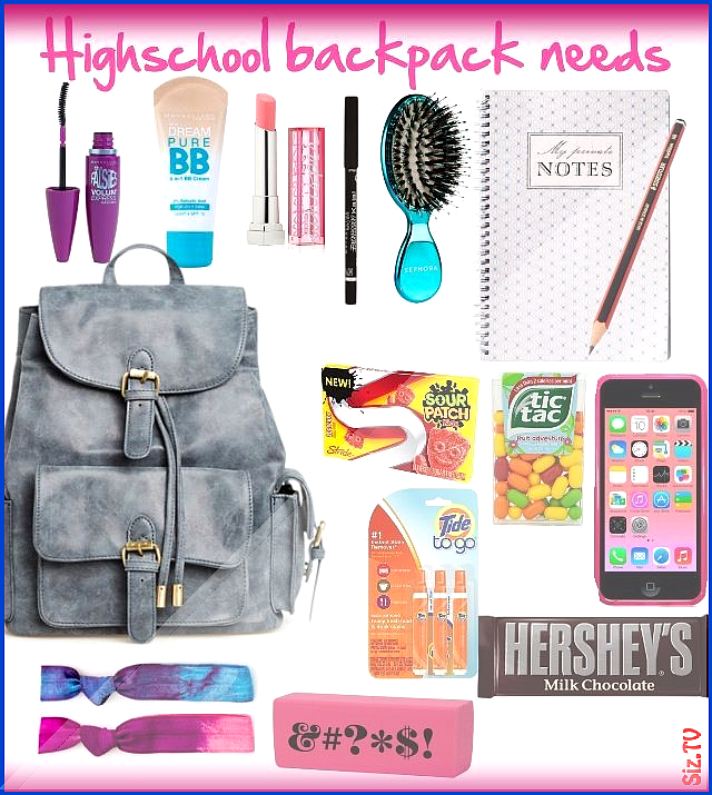 Everything you need as a highschool girl  created by kenzierootoo  School Backpa...