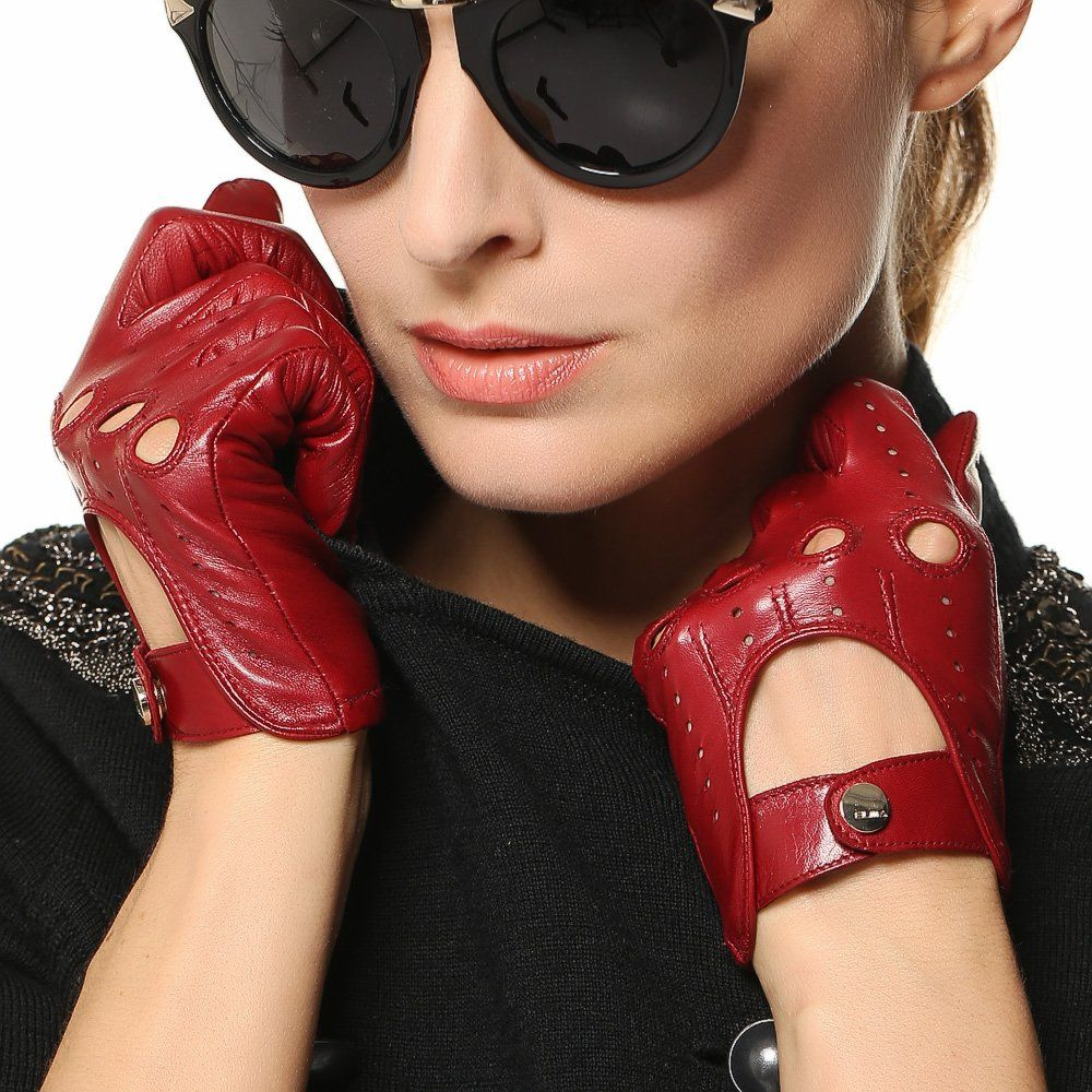 Womens leather motorcycle riding gloves - Elma Tradional Women S Italian Nappa Leather Gloves Motorcycle Driving Open Back M Burgundy