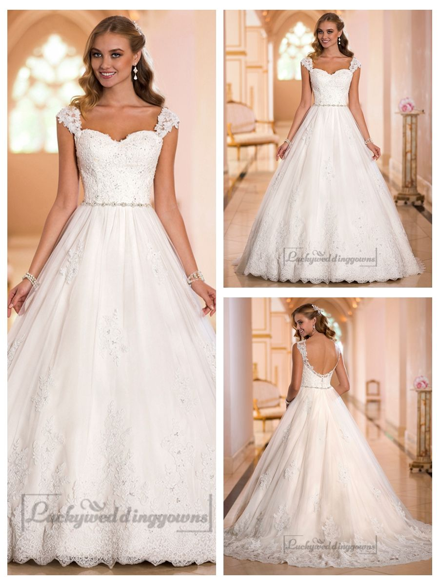 Lace ball gown wedding dresses  Straps Sweetheart Lace Princess Ball Gown Wedding Dresses