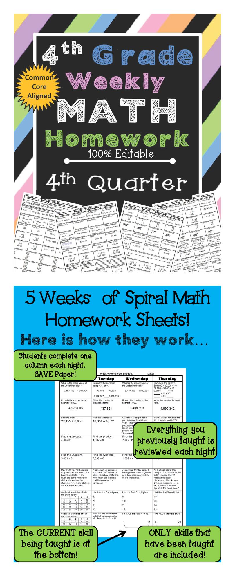 4th Grade Math Spiral Review   4th Grade Math Homework 4th Grade ...