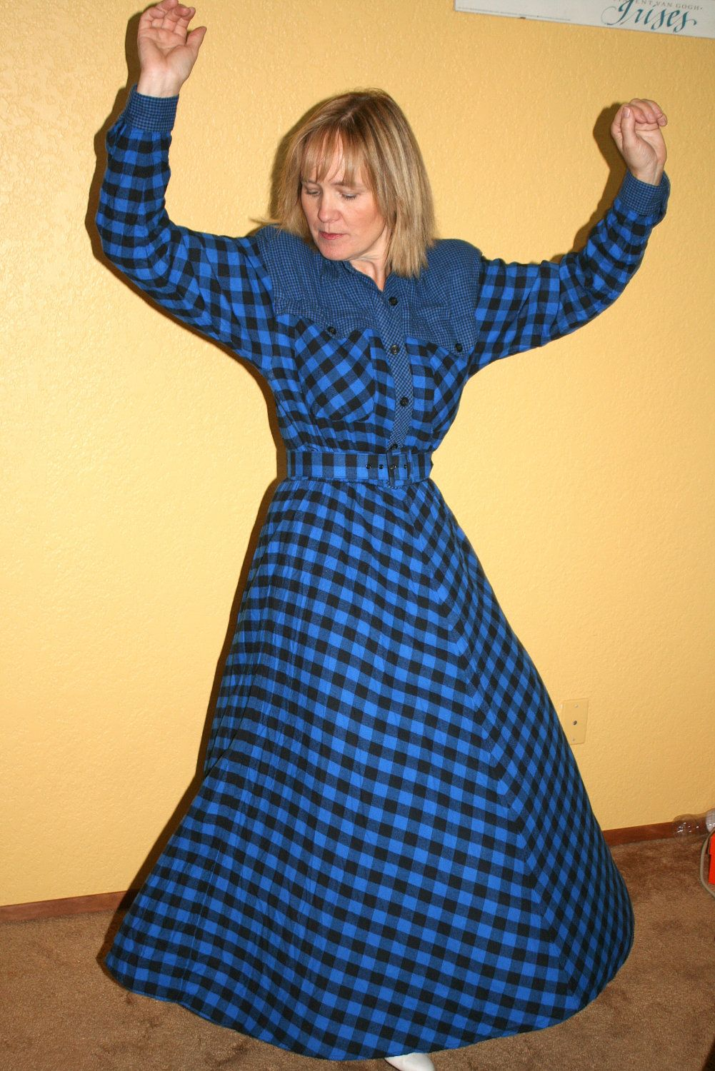 Yellow flannel outfits  Blue Flannel Rockabilly Dress Vintage us Checked Plaid Country