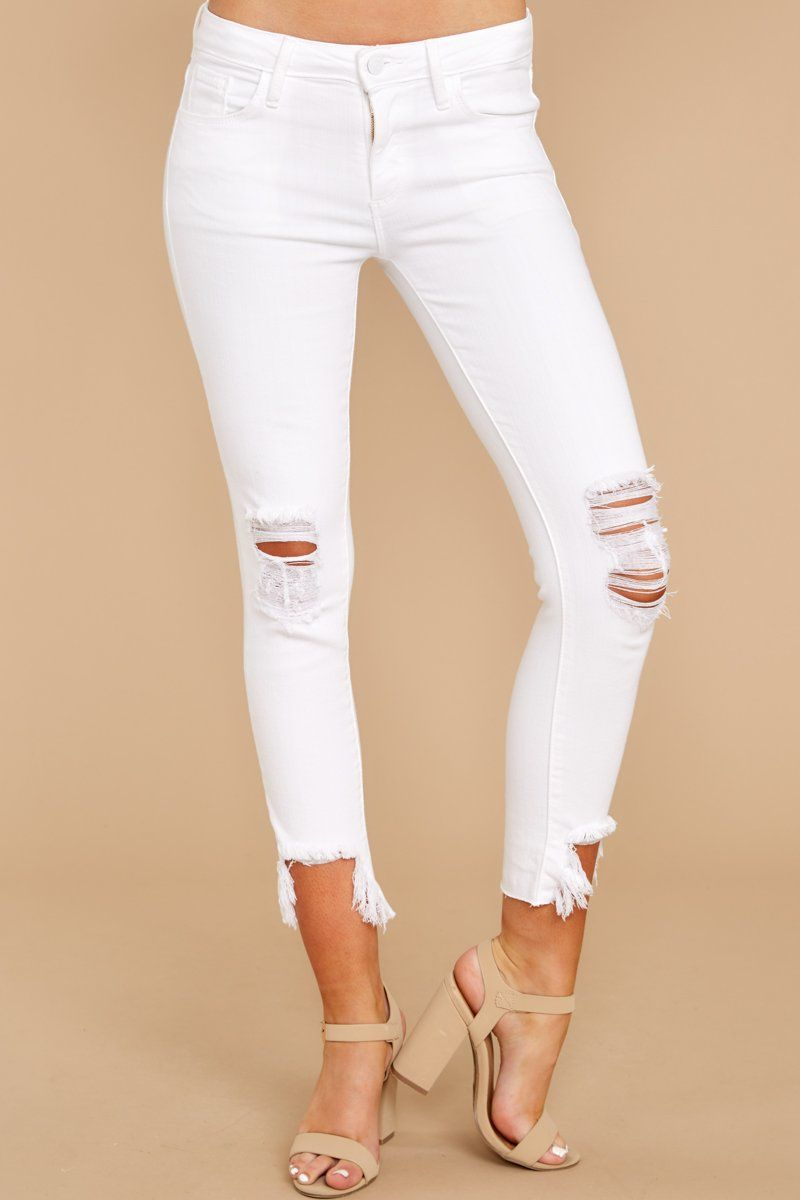 7091c638f4b5 Essential White Denim Jeans - Distressed Skinny Jeans - Pants - $68.00 –  Red Dress