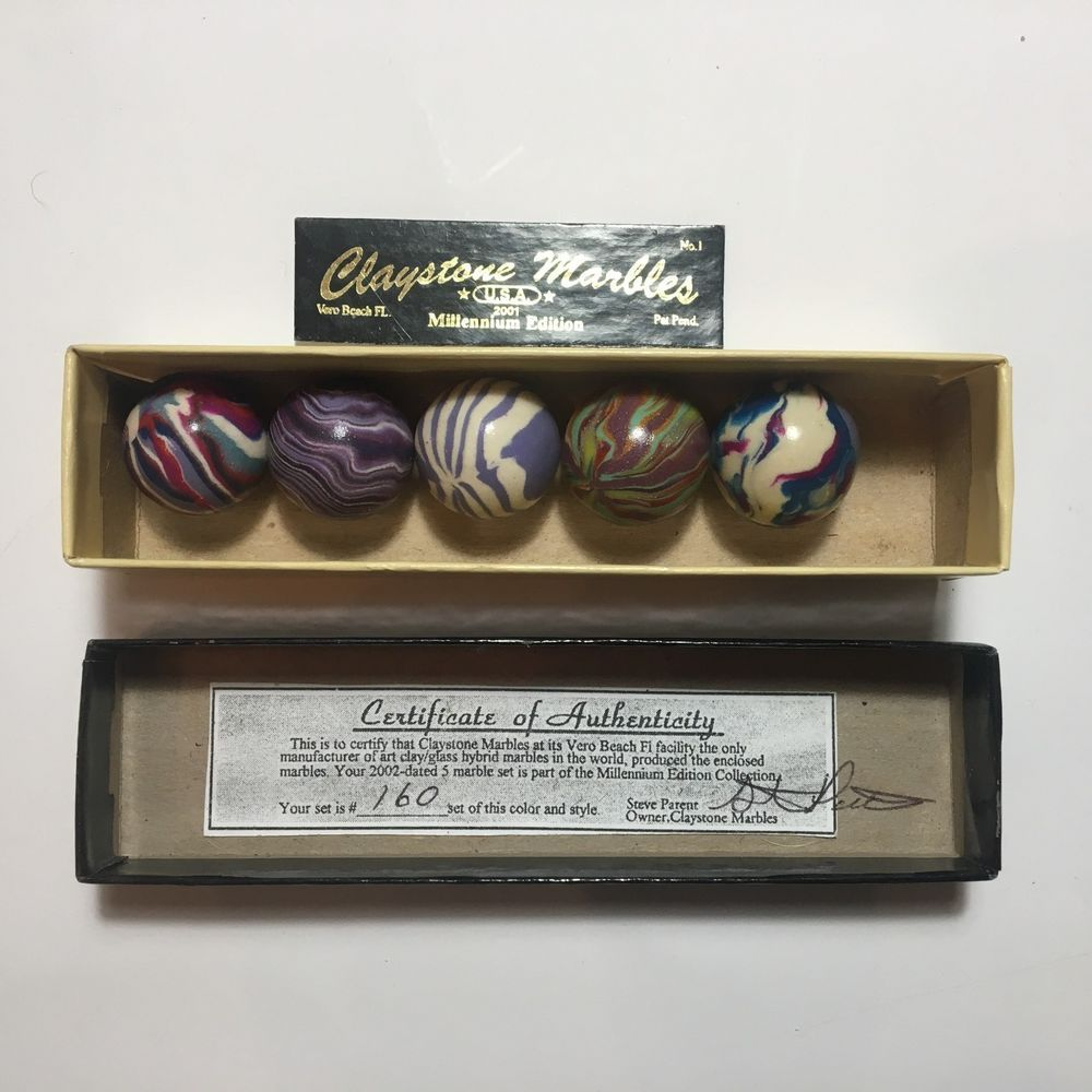 Vintage Toy Marbles Boxed Mixed Set 160 Handmade Polymer Clay