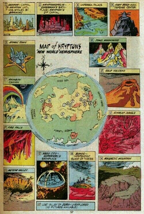 Map of Krypton | DC comics artwork | Silver age comics ...