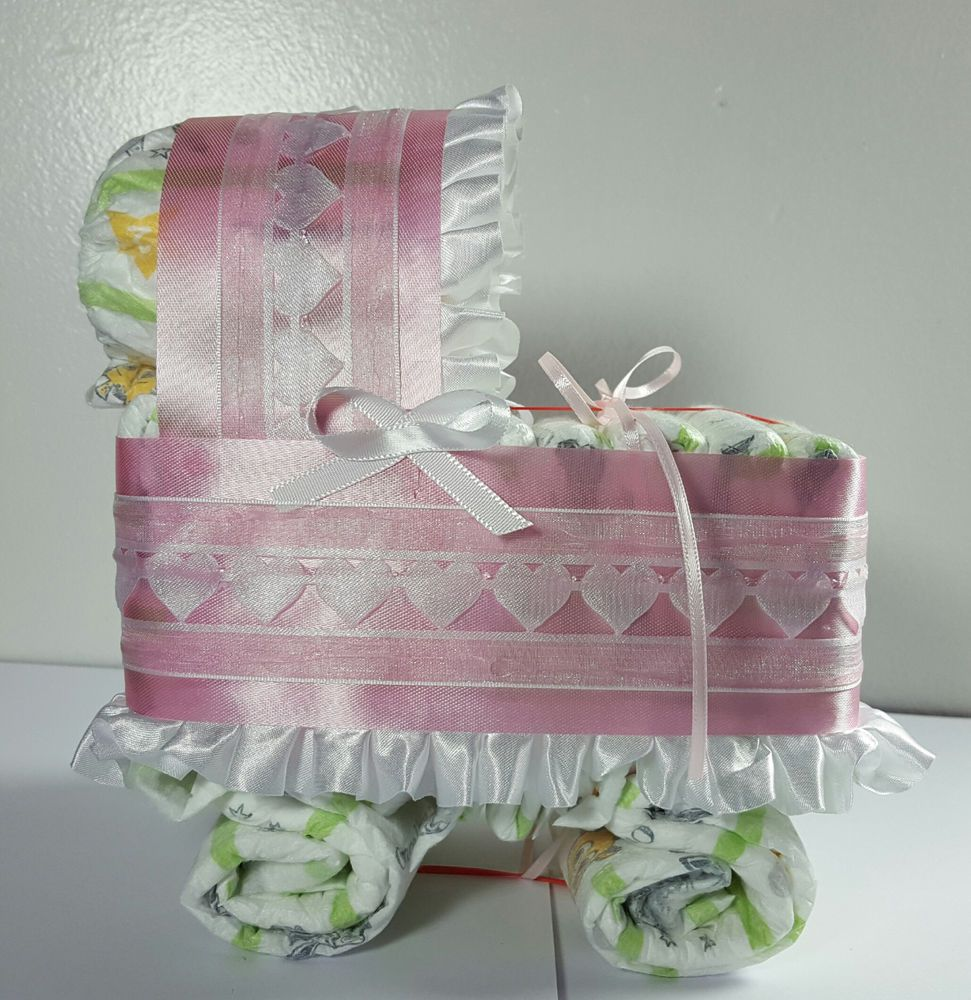 Pink Diaper Cake Beautiful Bassinet Carriage Baby Shower Gift for Girls