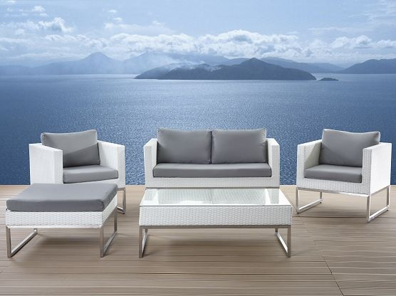 Crema Patio Conversation Set Made Out Of White Wicker With Light Grey Soft Cushions