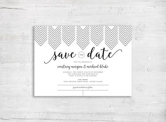 save the date black and white chevron design modern wedding graphic invitation