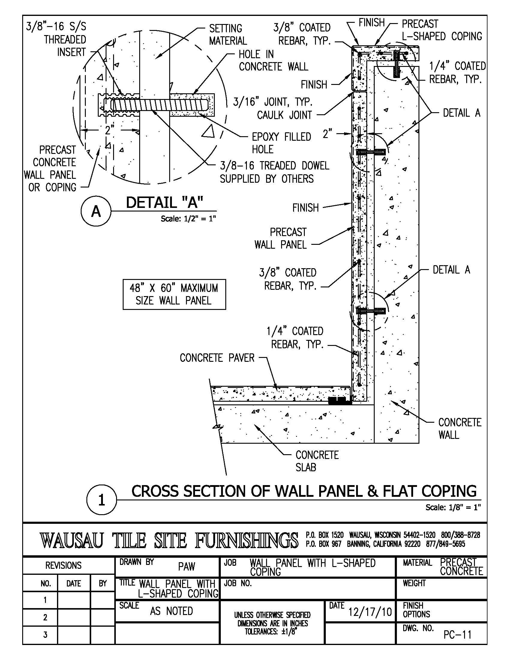 Wall Panes With L Shaped Coping Detail Http Www Wausautile Com Customprecastconcrete Details Cfm Concrete Wall Panels Concrete Wall Wausau
