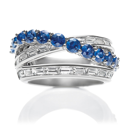 Sapphire, diamond and platinum 'River' #ring by Harry Winston