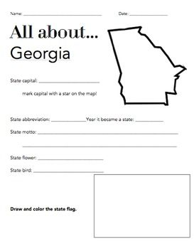 Georgia State Facts Worksheet Elementary Version Worksheets - Georgia map activity tier 2