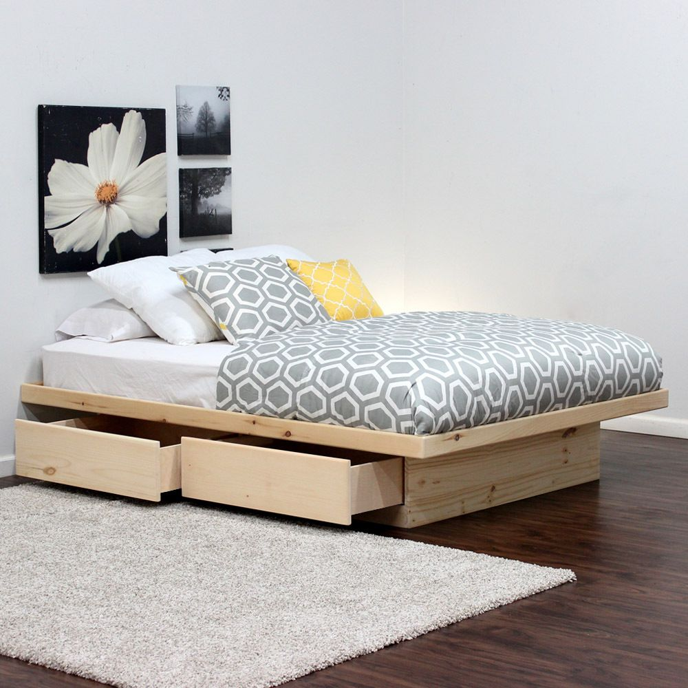 Queen Platform Bed 2 Drawers in Pine | Manualidades, Camas y Plataforma