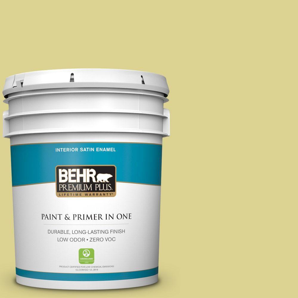 BEHR Premium Plus 5 gal. #T17-16 That's My Lime Zero VOC Satin Enamel Interior Paint