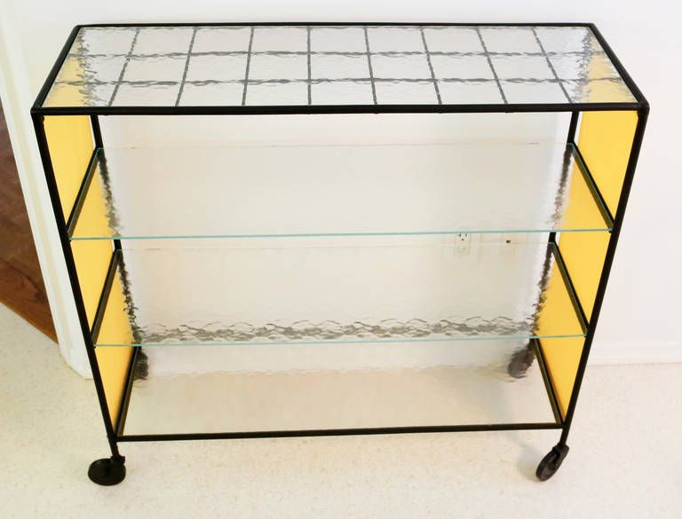 dining bar cart by paul mccobb for arbuck with original yellow fabric