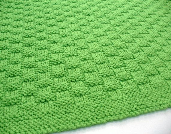 Green Baby Blanket Hand Knit Baby Afghan Blanket Knitted Basketweave