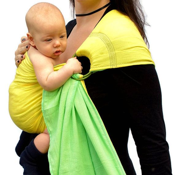 Ring Sling Baby Carrier Gauze Double Layer Two Tone Lemon Lime