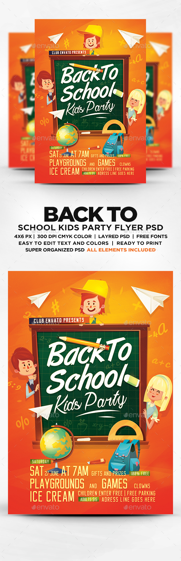 Back To School Kids Party Flyer Template Psd Download Here Https