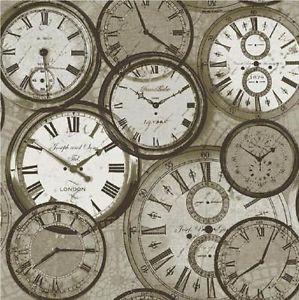 NEW LUXURY IDECO HOME TIME VINTAGE CLOCKS WATCHES RETRO WALLPAPER POB-013-01-2