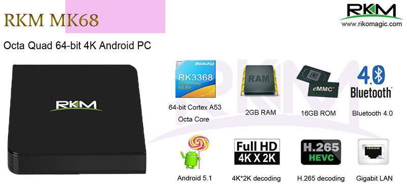Rikomagic RKM MK68 2G Ram16G Rom Octa Core 4K Google Android