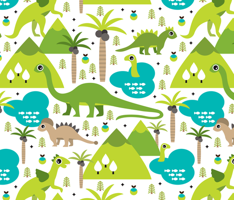 Cute dinosaur woodland illustration pattern cute dino nature print for kids  and cool boys XL fabric by littlesmilemakers on Spoonflower - custom fabric