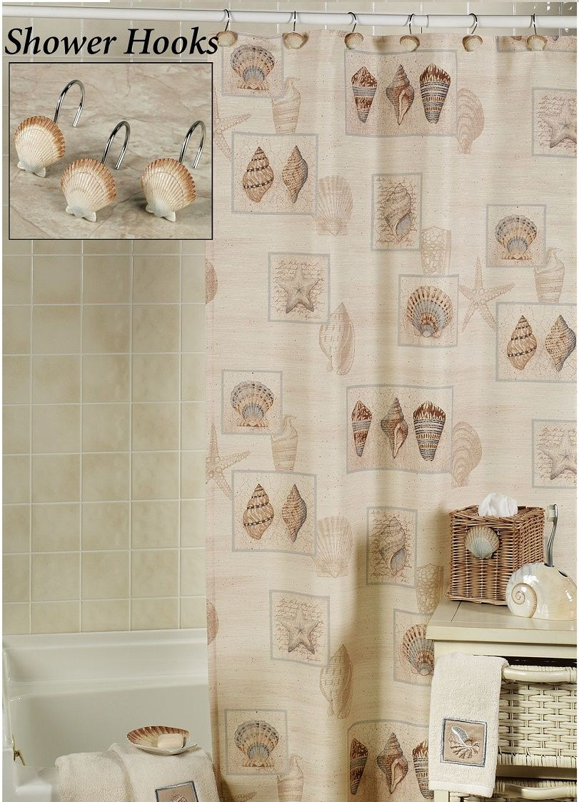 Pin By Jody On Shower Curtains Seashell Shower Curtain Fabric