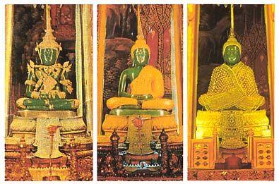 the emerald Buddha. Ubosot (chapel) of Wat Phra Kaeo, Bangkok.