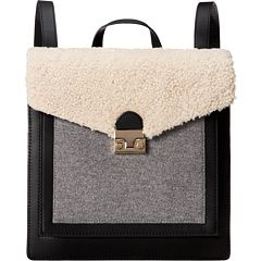Loeffler Randall Lock Backpack Natural Black Grey Vachetta Leather Shearling Melton Wool,