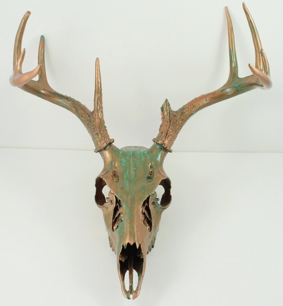 Deer Skull Taxidermy with Antlers Copper Natural Aqua Patina Painted