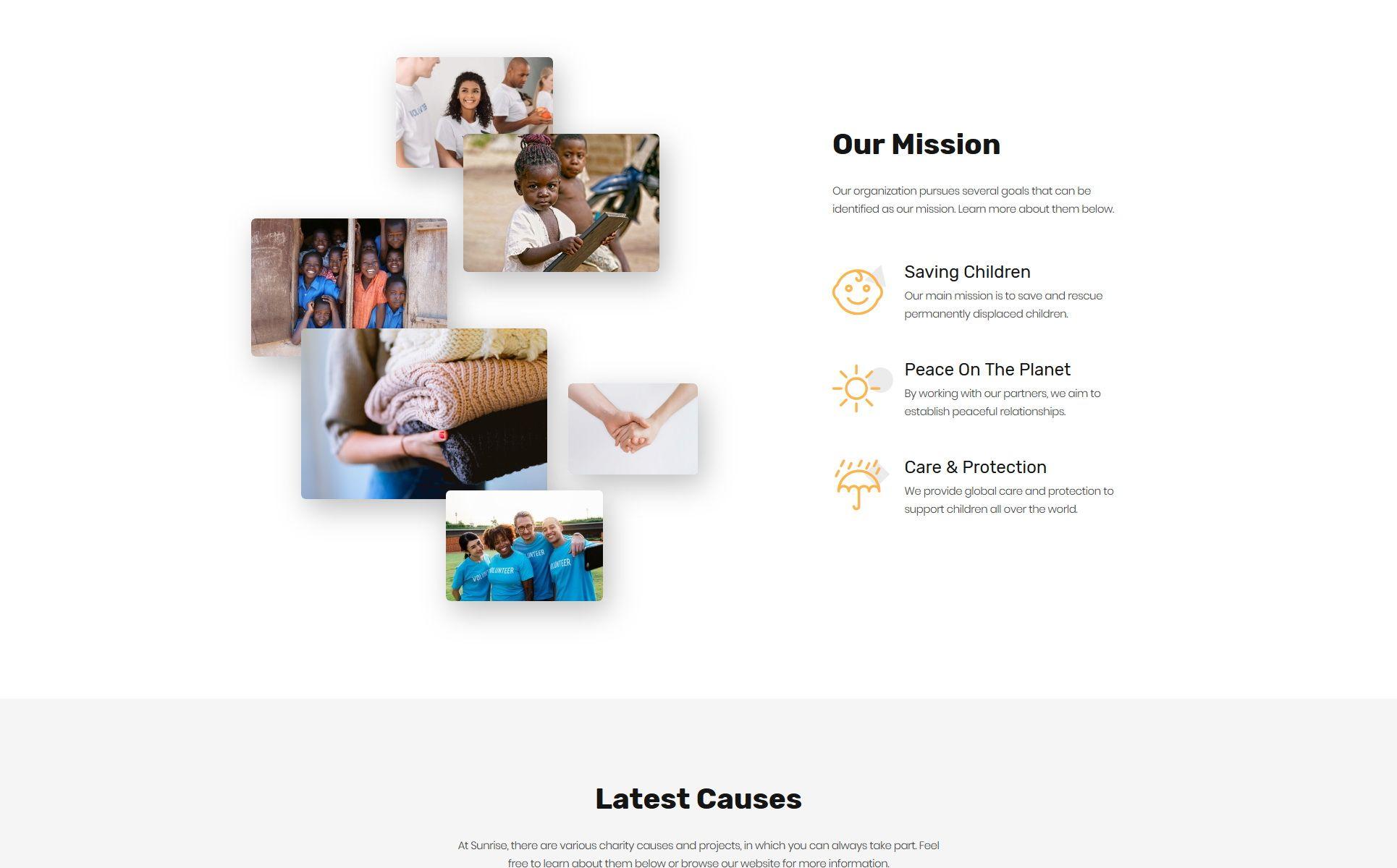 Sunrise Charity Foundation Modern Html5 Landing Page Template