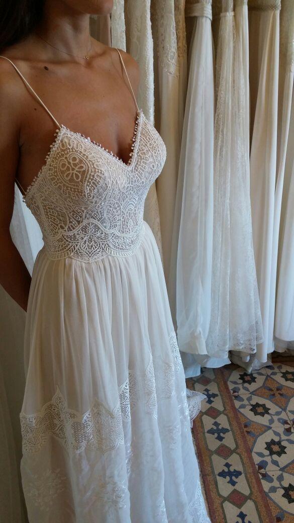 LOVE! Vintage lace wedding dress   deep neckline   open back   thin ...