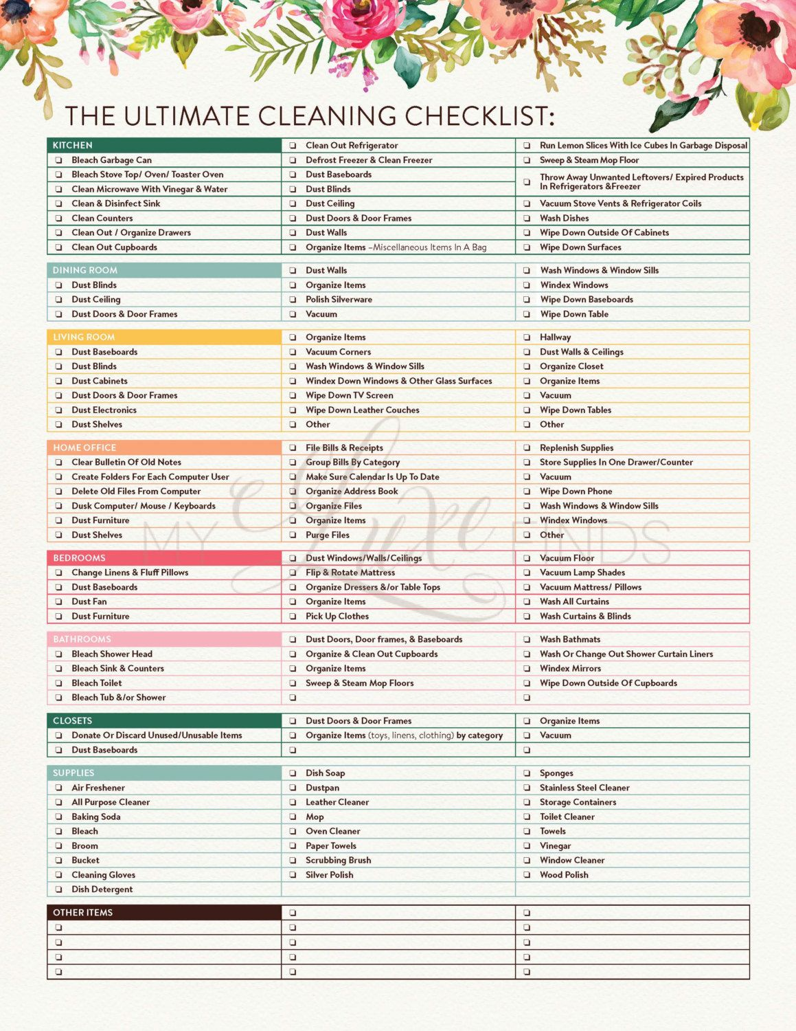Printable House Cleaning Checklist Pdf. The Ultimate House Cleaning  Checklist