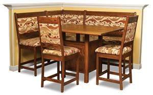 High Country Amish Upholstered Solid Wood Breakfast Nook Counter