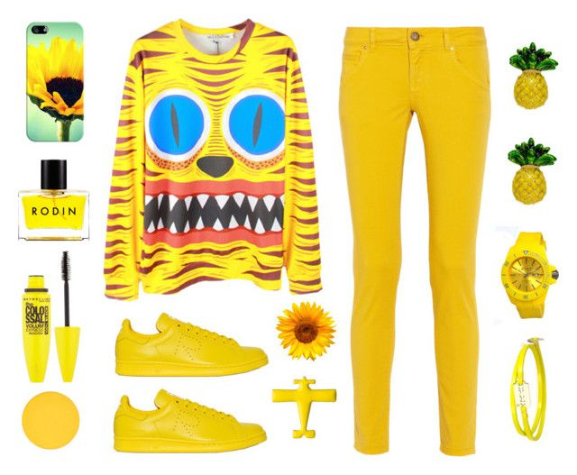 """""""Yellow monster"""" by fruktamunta ❤ liked on Polyvore featuring мода, M Missoni, adidas, c.A.K.e. by Ali Khan, Jet Set, McQ by Alexander McQueen, Casetify, Rodin, Maybelline и MAC Cosmetics"""
