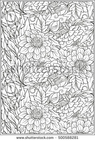Floral Pattern Flower Background Floral Pattern With Hand Drawn Flowers Anti Stress Coloring Book For Flower Backgrounds Hand Drawn Flowers Colouring Pages
