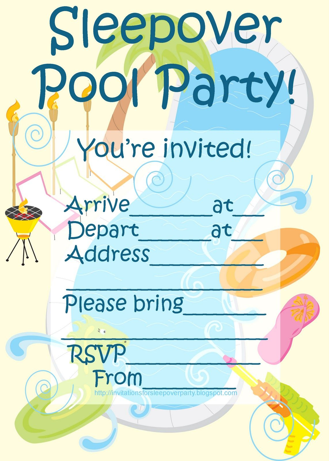 INVITATIONS FOR SLEEPOVER PARTY POOL INVITATION