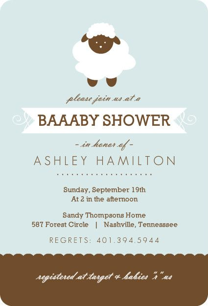 Blue And Brown Sheep Boy Baby Shower Invite by PurpleTrail - invitation wording for baby shower