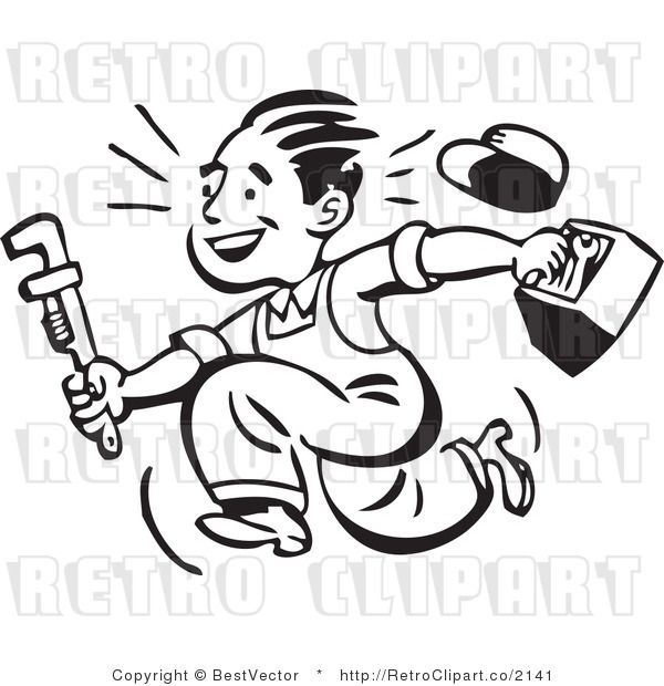 Retro Clipart Of Smiling Plumber Guy Running With Toolbox And Wrench