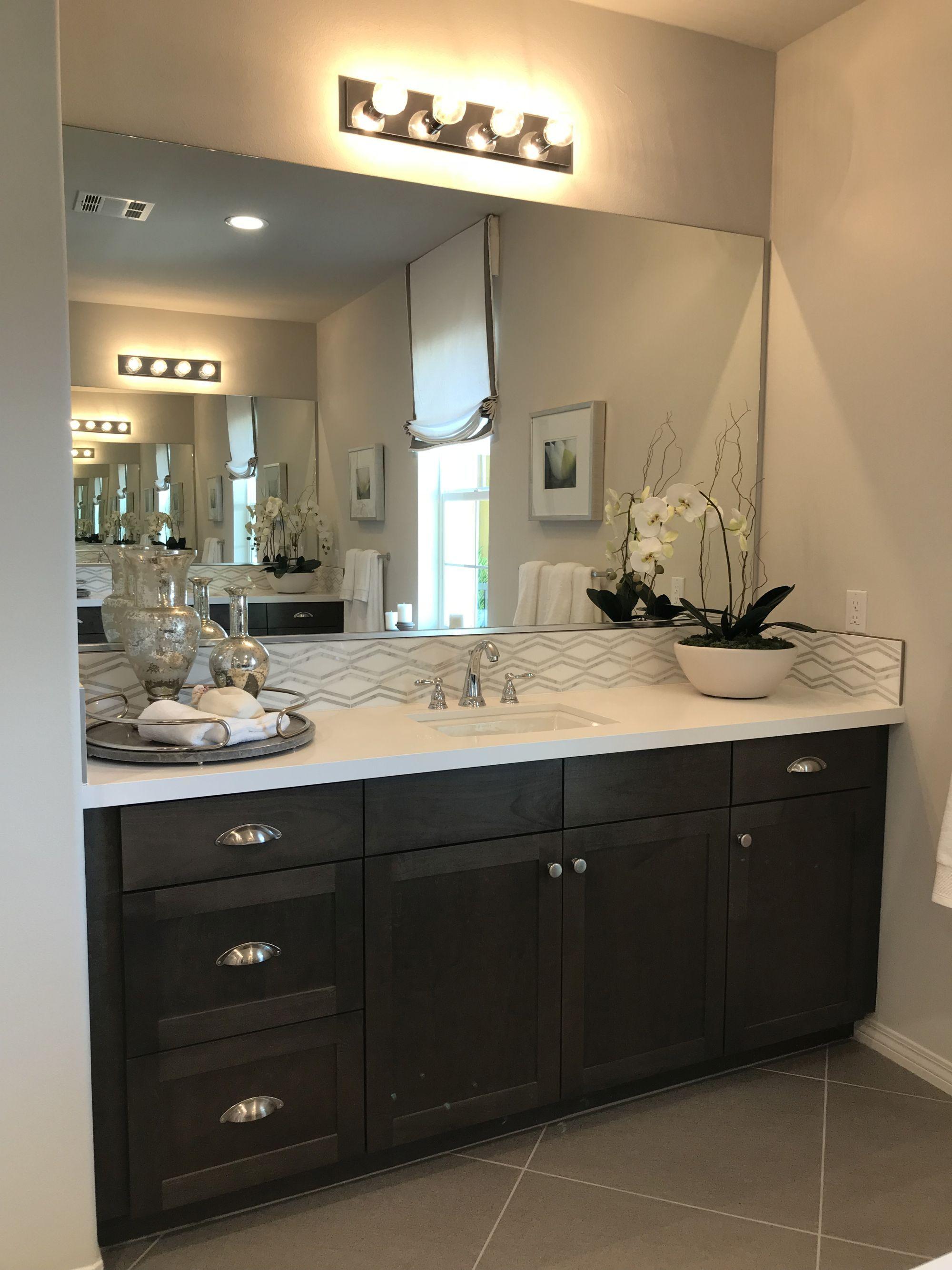 Bathroom Remodel Ideas Black Cabinets White Quartz Countertop Gray Tile Flooring Bathrooms Idea