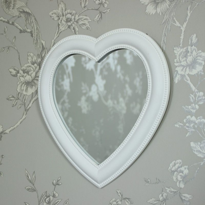 White Heart Wall Mirror A gorgeous mirror with beading detail ...