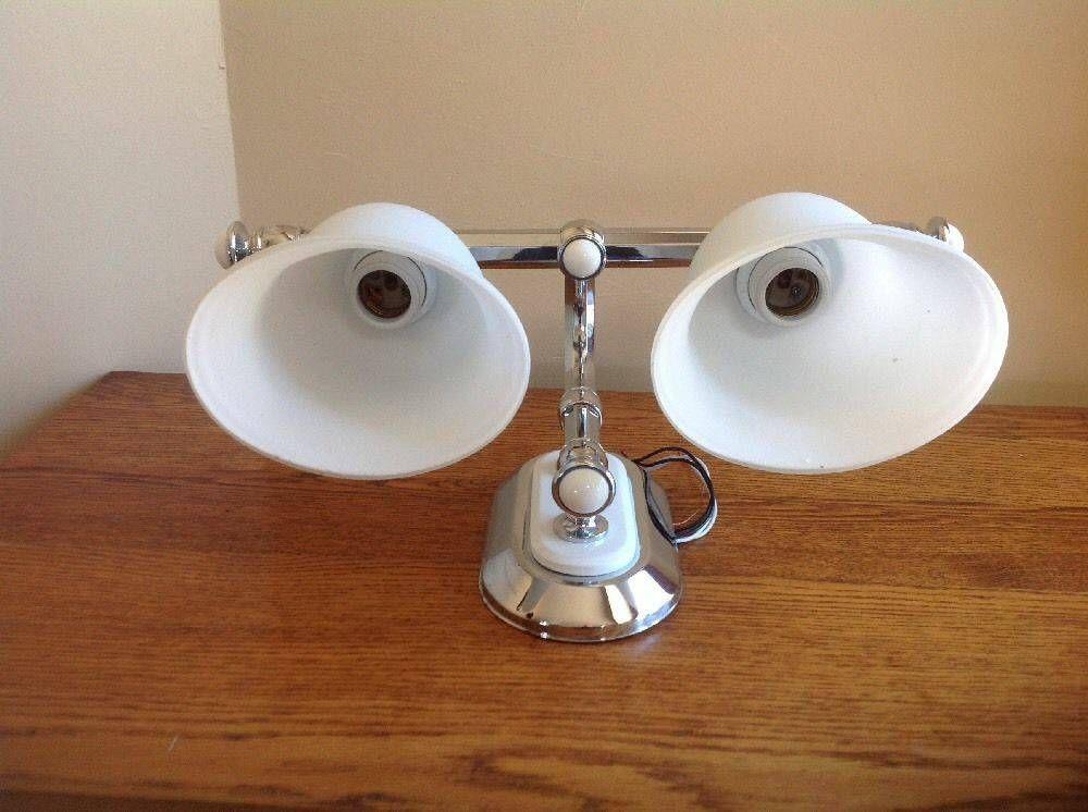 2 Bulb White Porcelain Chrome Bathroom Light Fixture 1