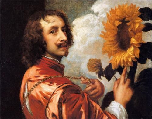 Self-portrait with a sunflower by Anthony van Dyck (1632, Private collection)