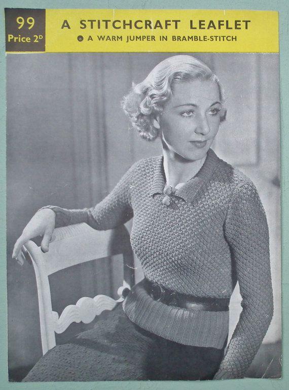 e10eb6e67 Vintage Knitting Pattern 1930s Women s Sweater with Collar 30s original  pattern - A Stitchcraft Leaflet No. 99 UK - bramble-stitch jumper