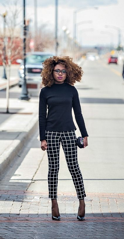 42857cea05b52 Paired a striped cigarett pants and a lace up sweater topped with a fishnet  ankle socks and classic black heels