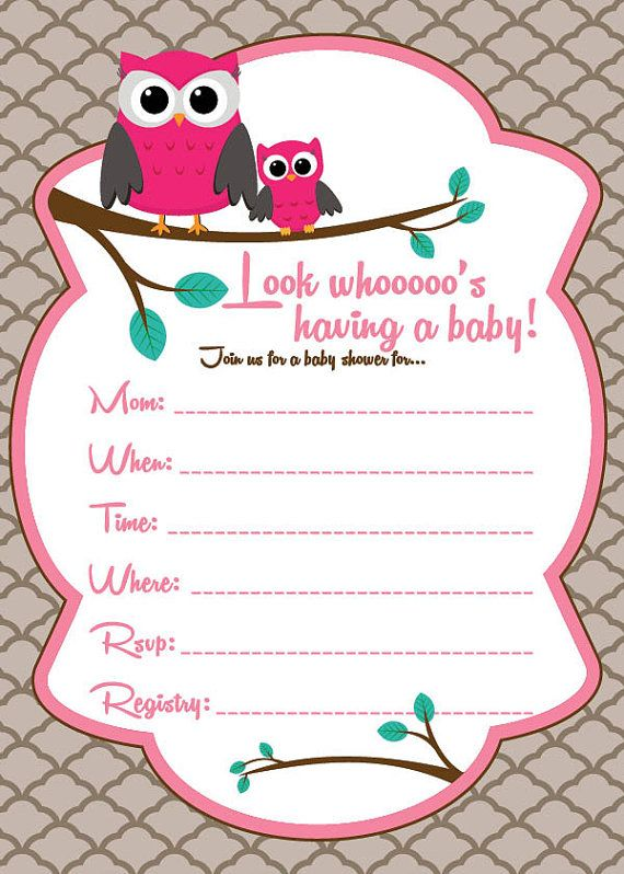 Owl Girl Baby Shower Invitation Email me to costum order