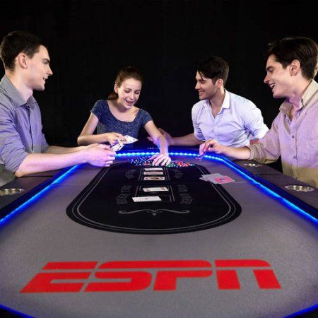 Espn 10 Player Poker Table With In Laid LED Lights, No Assembly Required