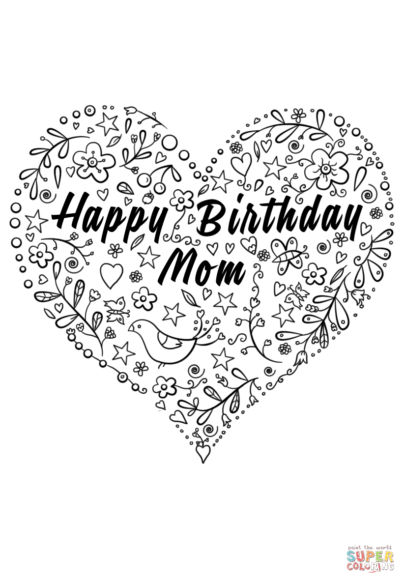 New Coloring Pages Happy Birthday For You Mom coloring
