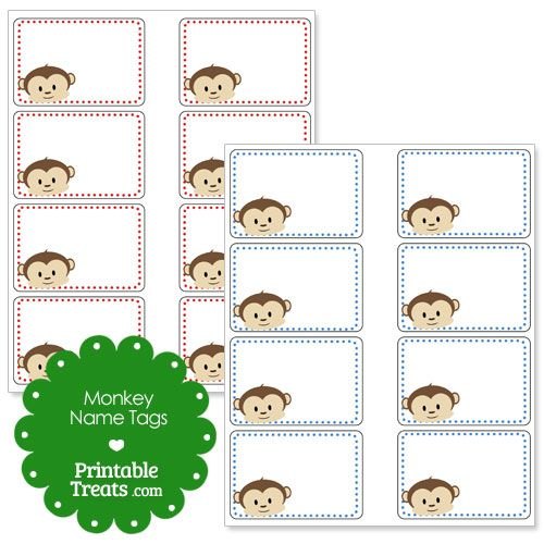 Printable Monkey Name Tags Classroom Name Tags Cubby Tags Monkey Names