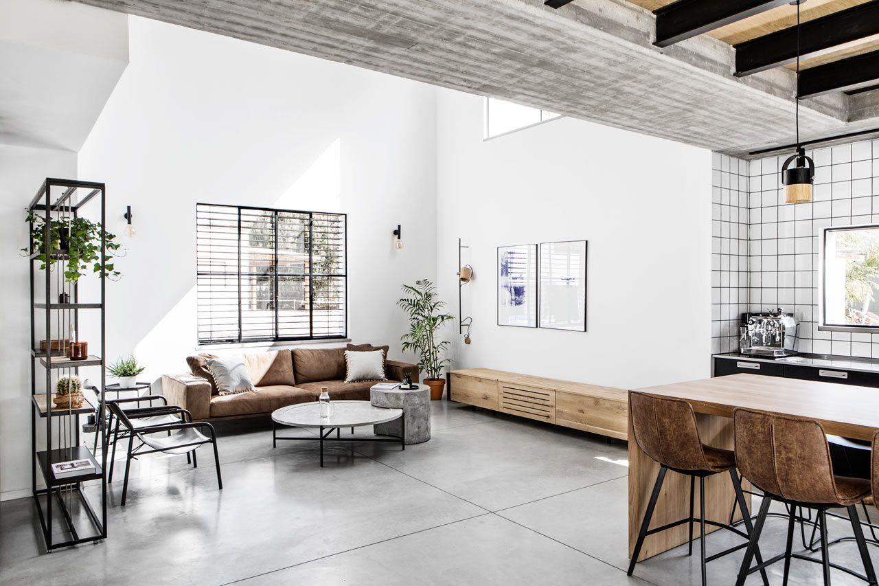 A Modern Monochromatic House In Nir Am Israel Minimalist Living Room Decor Industrial Interior Design Minimalist Living Room
