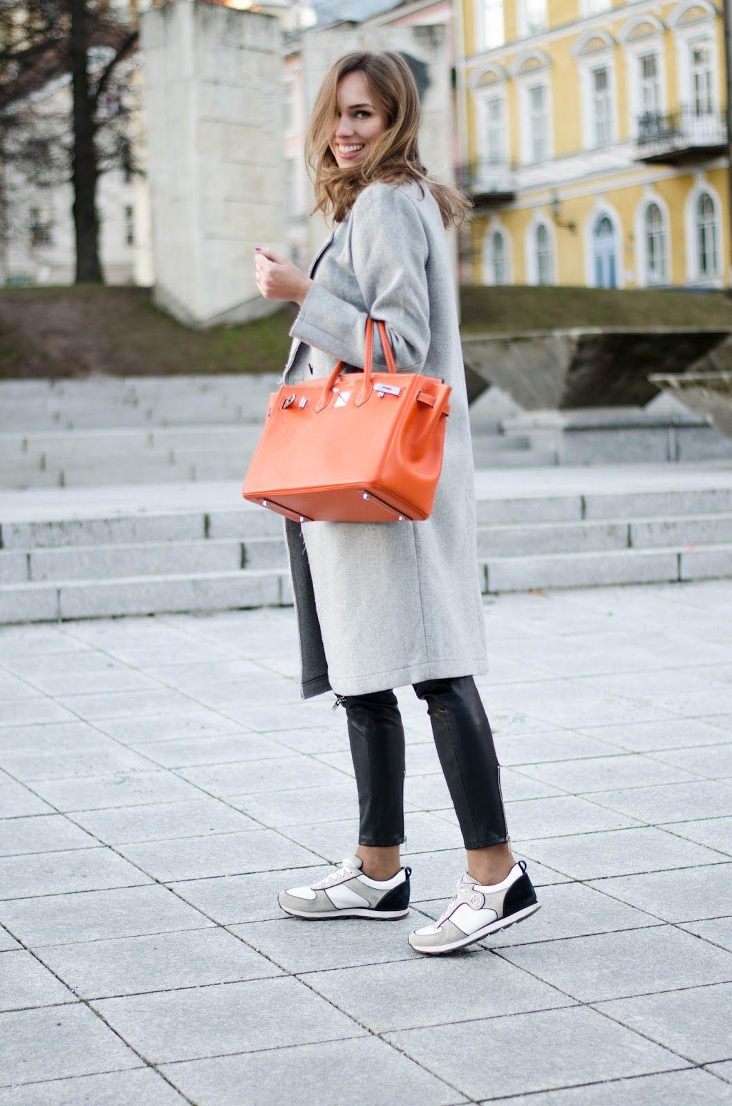 ccfbbce48edc kristjaana mere hermes birkin bag casual winter outfit coat sneakers ...